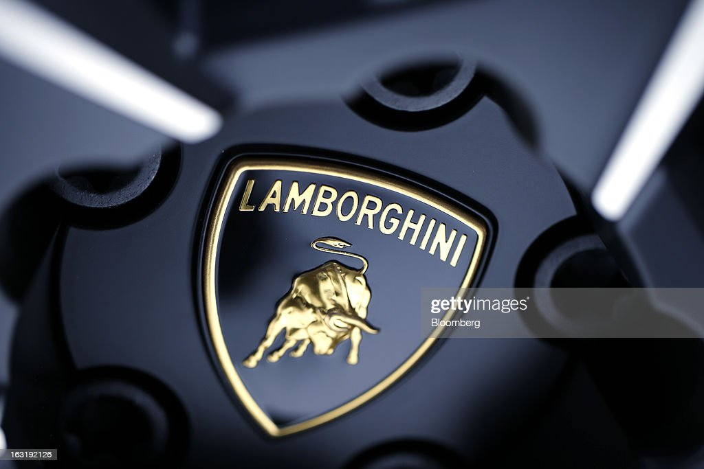 The Lamborghini logo is seen on a wheel hub of an automobile, produced by Lamborghini SpA, on the first day of the 83rd Geneva International Motor Show in Geneva, Switzerland, on Tuesday, March 5, 2013. This year's show opens to the public on Mar. 7, and is set to feature more than 100 product premiers from the world's automobile manufacturers. Photographer: Valentin Flauraud/Bloomberg via Getty Images