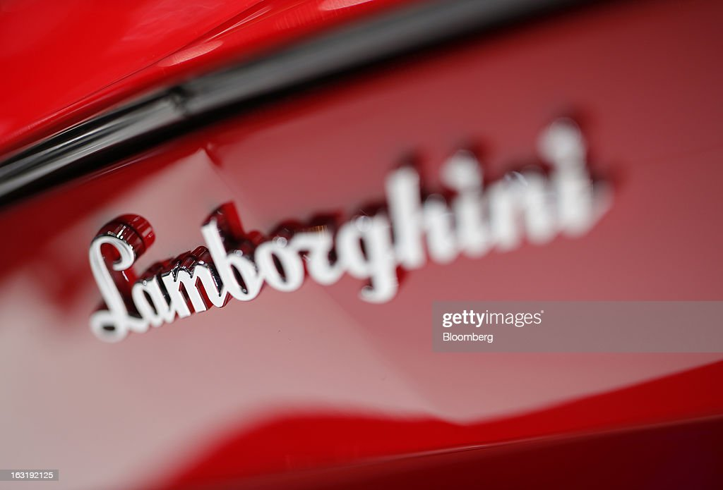 The Lamborghini logo is seen on an automobile, produced by Automobili Lamborghini SpA, on the first day of the 83rd Geneva International Motor Show in Geneva, Switzerland, on Tuesday, March 5, 2013. This year's show opens to the public on Mar. 7, and is set to feature more than 100 product premiers from the world's automobile manufacturers. Photographer: Valentin Flauraud/Bloomberg via Getty Images