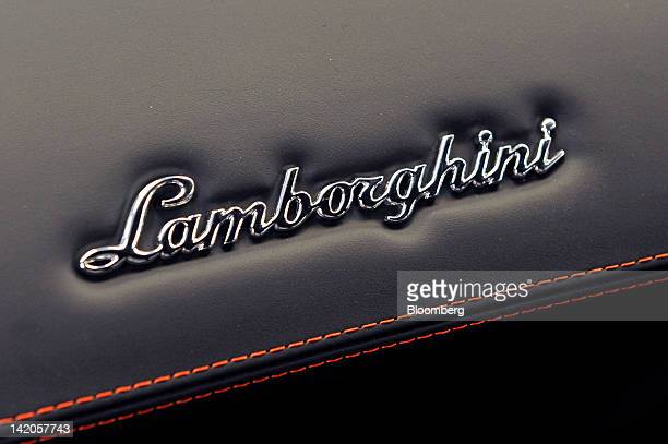 The Lamborghini logo sits on the upholstery of a Gallardo LP 5704 inside the company's factory in Sant'Agata Bolognese near Bologna Italy on...