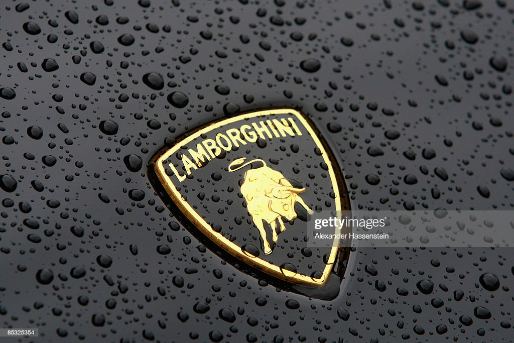 The Lamborghini sign is seen on a car presented in front of the headquarters during the Audi annual news conference on March 10 2009 in Ingolstadt...