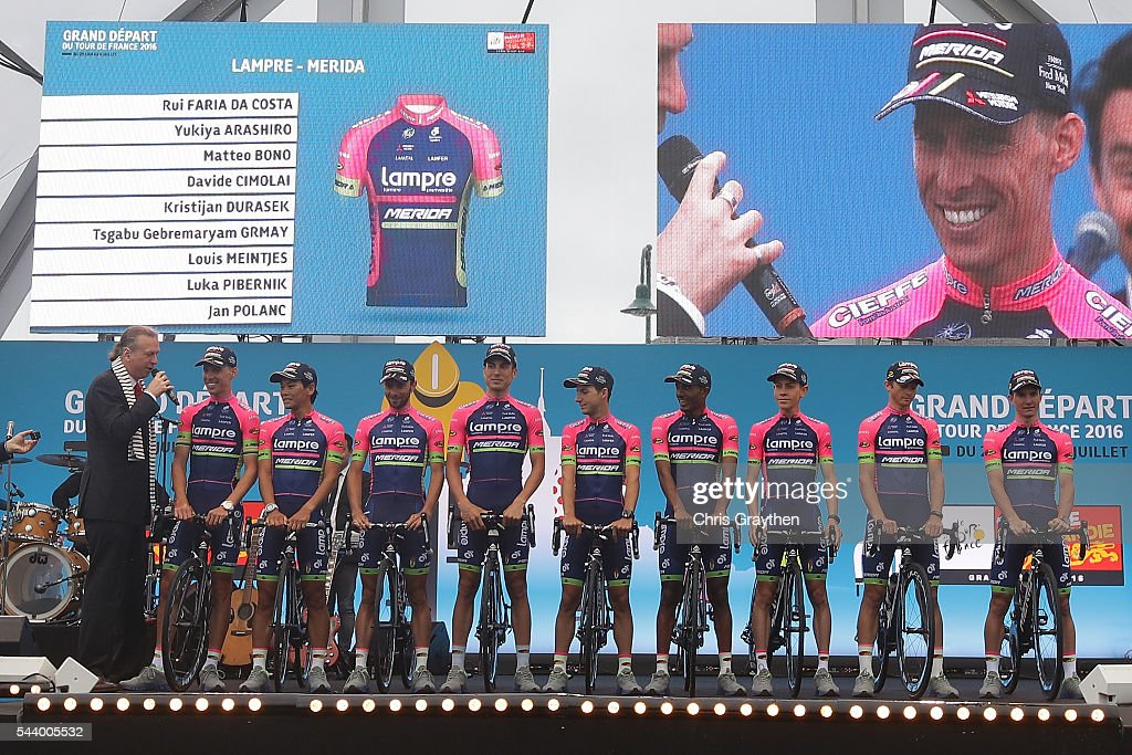 The Lampre-Merida team is introduced during the team presentation ahead of the 2016 Le Tour de France on June 30, 2016 in Sainte-Mere-Eglise, France.