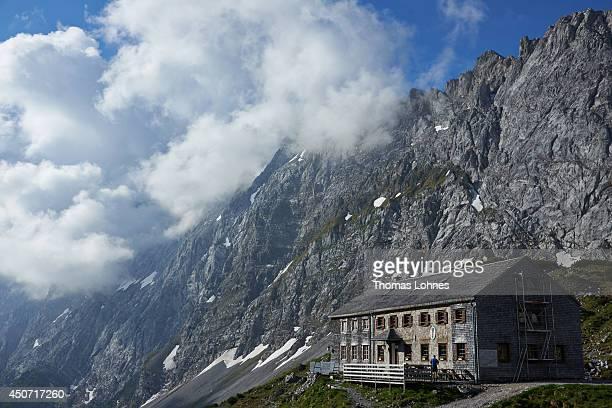 The 'Lamsenjochhuette' at the Karwendel region pictured on June 13 2014 near Vomp Austria The Karwendel is the largest range of the Northern...