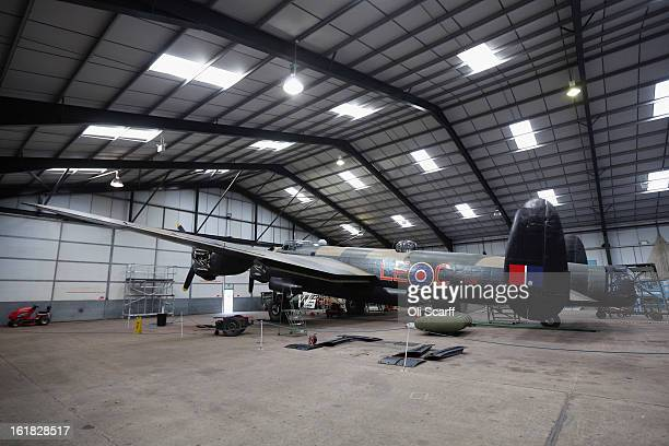 The Lancaster bomber 'Just Jane' which is being restored with the aim of getting it airworthy sits in a hangar at Lincolnshire Aviation Heritage...