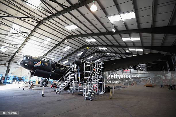 The Lancaster bomber 'Just Jane' which is being restored with the aim of getting it airworthy is parked in a hangar at Lincolnshire Aviation Heritage...