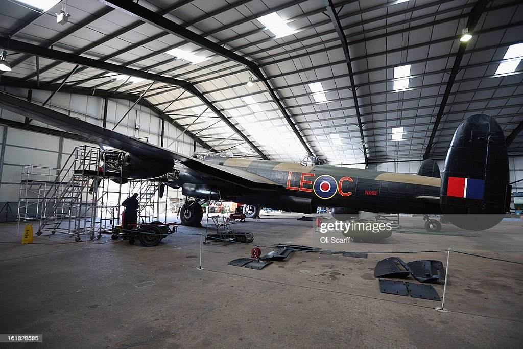 The Lancaster bomber 'Just Jane' which is being restored with the aim of getting it airworthy, at Lincolnshire Aviation Heritage Centre, on February 14, 2013 in East Kirkby, England. The plane, which last flew in 1971, would become one of only three airworthy Lancaster bombers in the world. Brothers Fred and Harold Panton, owners of the Lincolnshire Aviation Heritage Centre, are restoring the plane in memory of their sibling, Christopher Panton, who died aged 19 when his Lancaster was shot down in 1944.