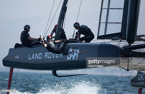 The Land Rover BAR foiling AC45 catamaran Skippered by Ben Ainslie in action and winning The Louis Vuitton Americas Cup World Series on February 28...
