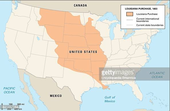 The land that the United States purchased from France in 1803 Louisiana Purchase