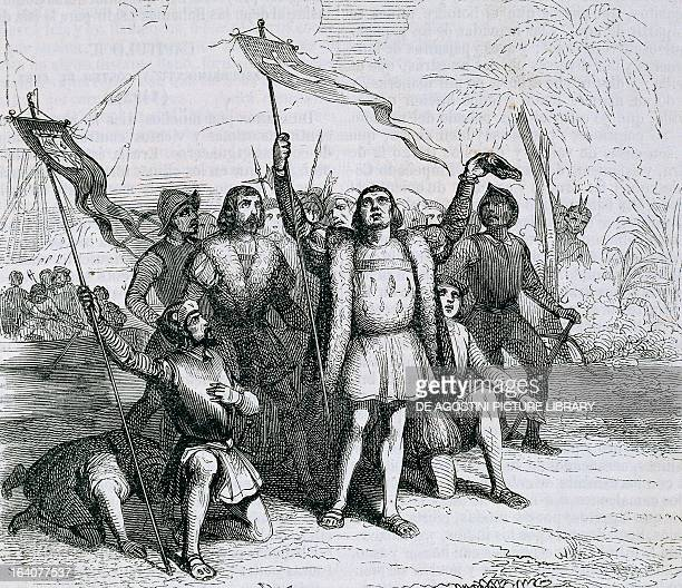 The landing of Christopher Columbus in San Salvador in the Bahamas in 1493 engraving 19th century