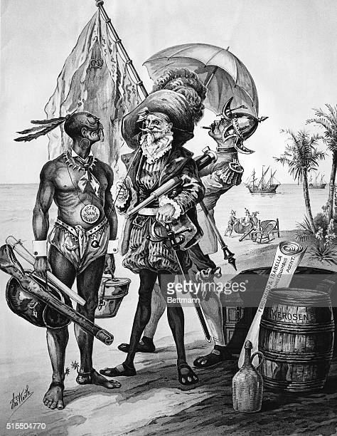 The landing of Christopher Columbus Satirical cartoon showing the commercialization of the event 400 years later by Thomas Worth 1892