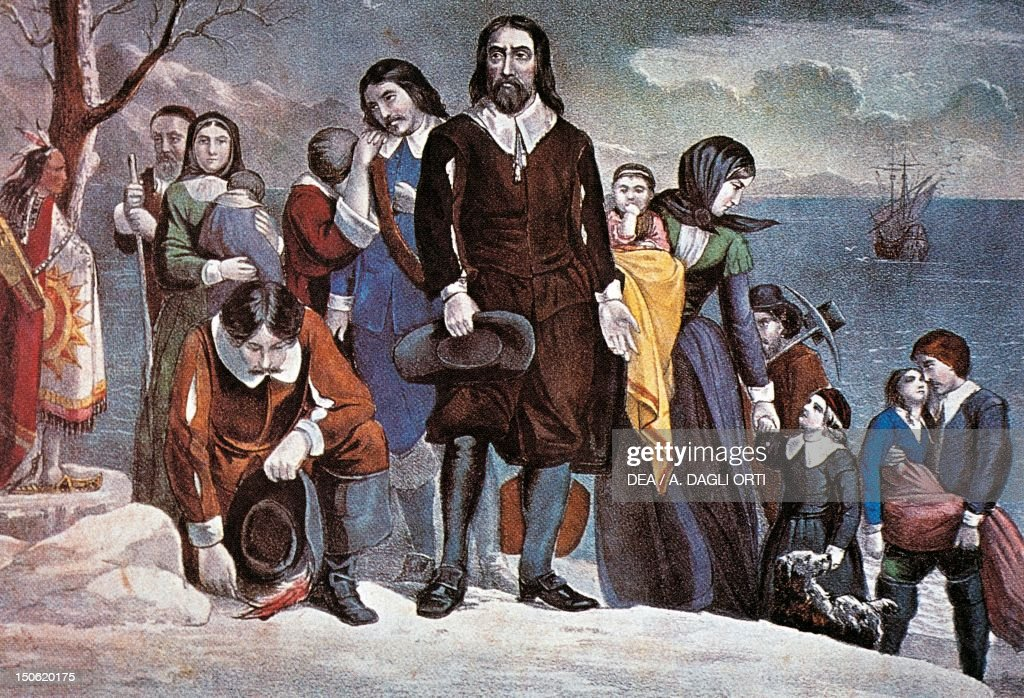 The landing of the Pilgrim Fathers at Plymouth December 22 by Currier and Ives lithograph The United States 17th century