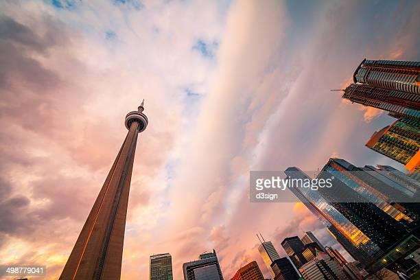 The landmark of Toronto CN Tower along the skyline