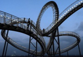 The landmark 'Tiger Turtle' sculpture that resembles a roaller coaster is pictured at the former zinc smeltery's grounds Krupp Mannesmann in the...