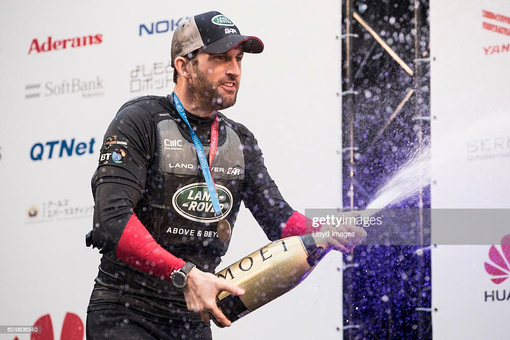 The LandRover BAR British Americas Cup Team skipper Sir Ben Ainslie. celebrating after winning during the Louis Vuitton Americas Cup World Series on November 20, 2016 in Fukuoka, Japan