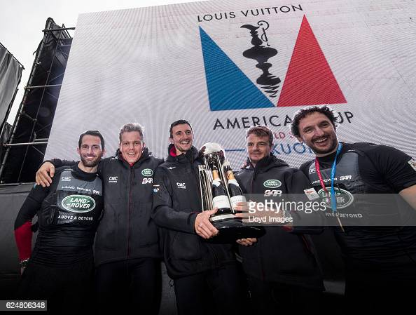 The LandRover BAR British Americas Cup Team skippered by Sir Ben Ainslie with team mates David Carr Paul Campbell James Nick Hutton Ed Powys and...