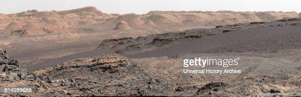 The landscape of Mars photographed by Curiosity Rover a robotic rover exploring Gale Crater on Mars as part of NASA's Mars Science Laboratory mission...