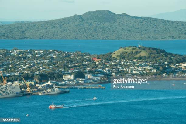 The landscape of Rangitoto island with The North Shore in Devonport the suburbs of Auckland, New Zealand.