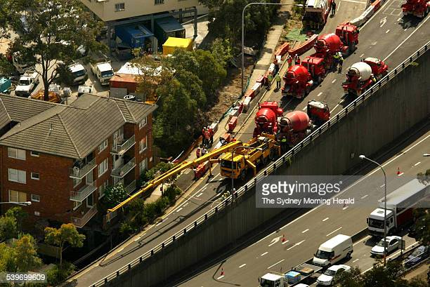The Lane Cove Tunnel collapse on Epping Road near the Pacific Highway Pictured is the hole exposed threatening a block of units on Epping Road 2...