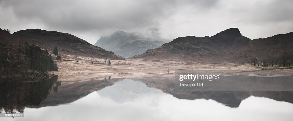 The Langdale pikes viewed over Blea Tarn, Cumbria : Stock Photo
