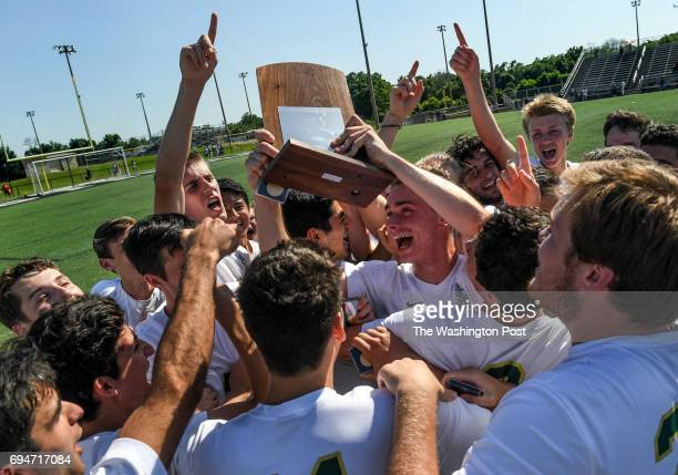 CHANTILLY VA JUNE The Langley Saxons celebrate after winning the Virginia State High School 6A Boy's Soccer Championship game between the Battlefield...