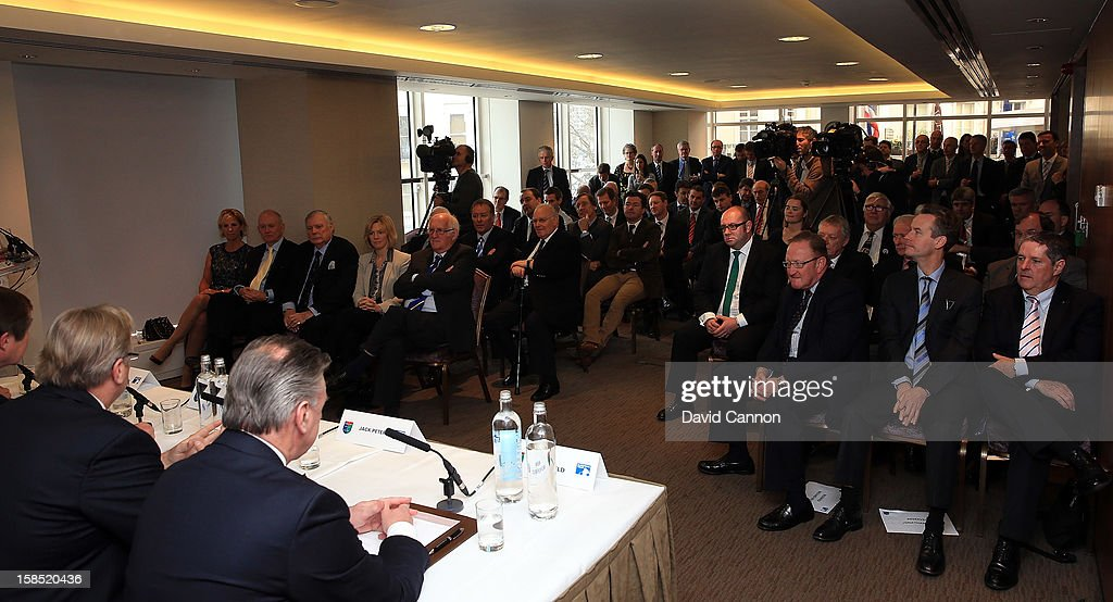 The large attendance of European golfing media during the World Golf Hall of Fame press conference at the European Tour Golfer of the Year lunch at the Royal Lancaster Hotel on December 18, 2012 in London, England.