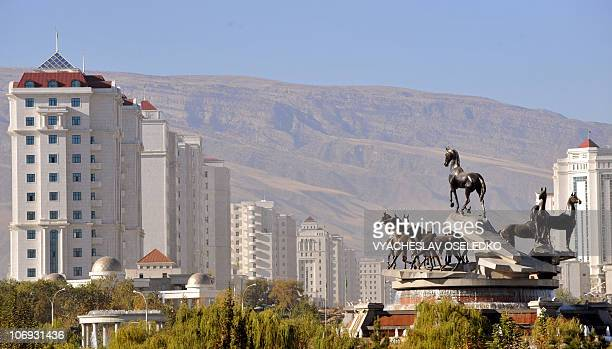 The large fountain statue of 10 horses rises in the Turkmenistan's capital Ashgabad on November 17 2010 The Central Asian nation of Turkmenistan...