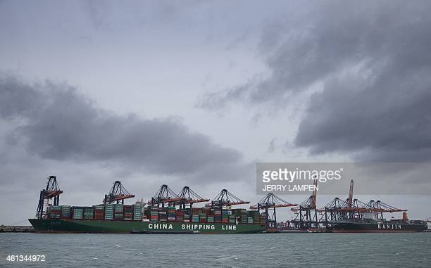 The largest container ship in the world the China Shipping Container Lines CoLtd Globe is berthed in the port of Rotterdam on January 11 2015 The...