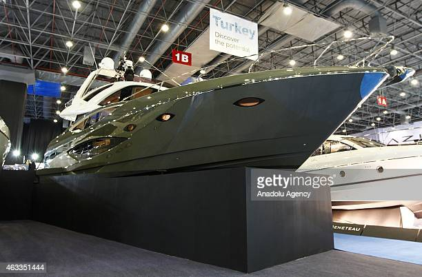 The largest locallyproduced motorised yacht the 2160 metres 'Numarine 70 Flybridge' is seen during the 8th International Boat Marine Equipment and...