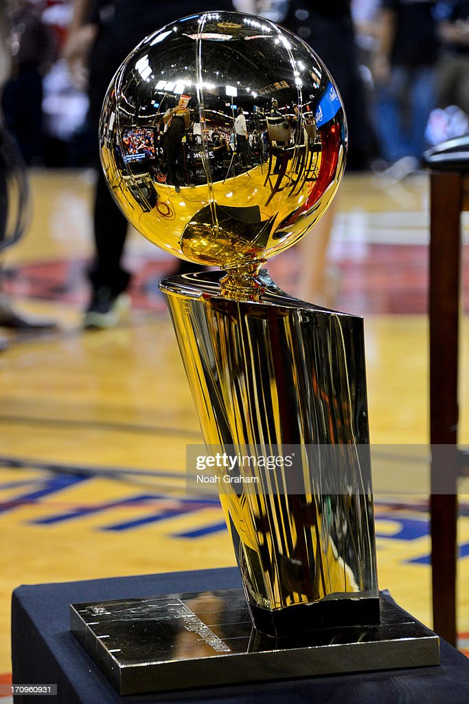 The Larry O'Brien Championship trophy sits on display before the San Antonio Spurs played the Miami Heat during Game Seven of the 2013 NBA Finals on June 20, 2013 at American Airlines Arena in Miami, Florida.