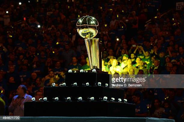 The Larry O'Brien NBA Championship Trophy and championship rings are displayed before the game between the Golden State Warriors and the New Orleans...