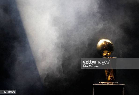 The Larry O'Brien Trophy sits on display during a celebration for the 2012 NBA Champion Miami Heat at American Airlines Arena on June 25 2012 in...