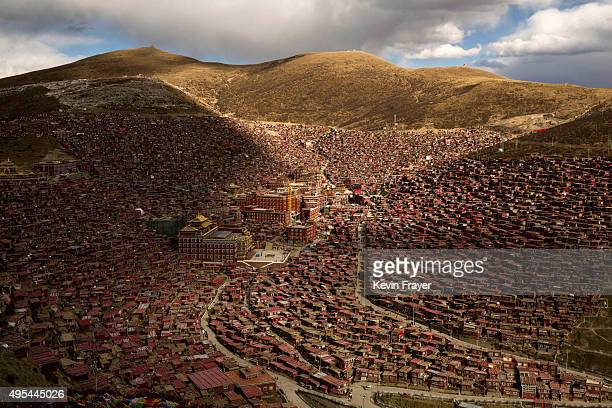 The Larung Wuming Buddhist Institute is seen on October 30 2015 in the Larung Valley of Sertar county in the remote Garze Tibetan Autonomous...