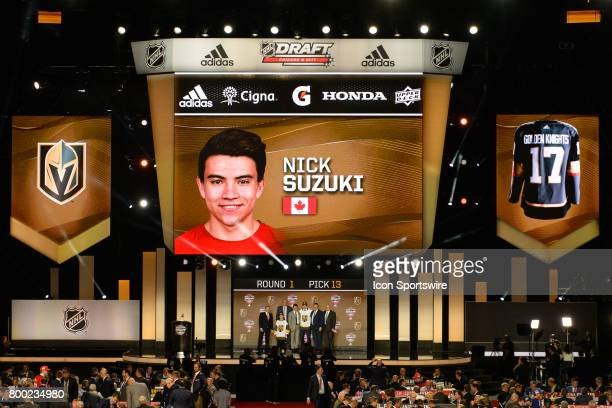 The Las Vegas Golden Knights select center Nick Suzuki with the 13th pick in the first round of the 2017 NHL Draft on June 23 at the United Center in...