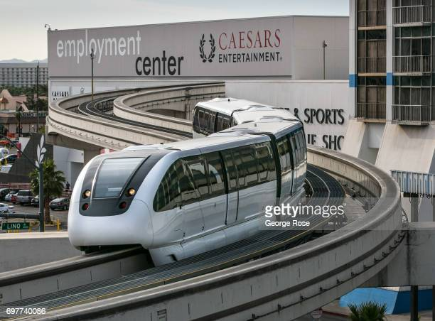 The Las Vegas Monorail crosses over Flamingo Road on May 31 2017 in Las Vegas Nevada Tourism in America's 'Sin City' has within the past two years...