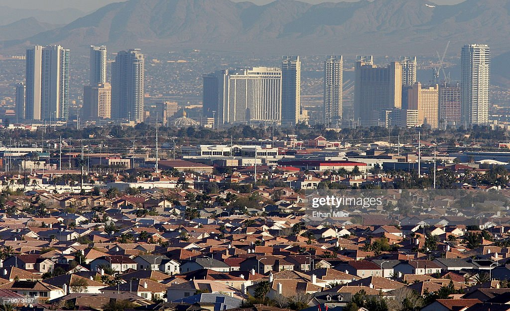 The Las Vegas Strip is seen behind residential neighborhoods February 8, 2008 in Las Vegas, Nevada. It was reported that the Las Vegas area has been hit with the largest amount of home foreclosures in the country as a result of the subprime mortgage crisis.