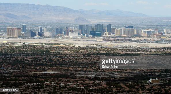 The Las Vegas Strip is seen from Ascaya Nevada's premier luxury home development on August 20 2014 in Henderson Nevada Ascaya featuring 313 luxury...