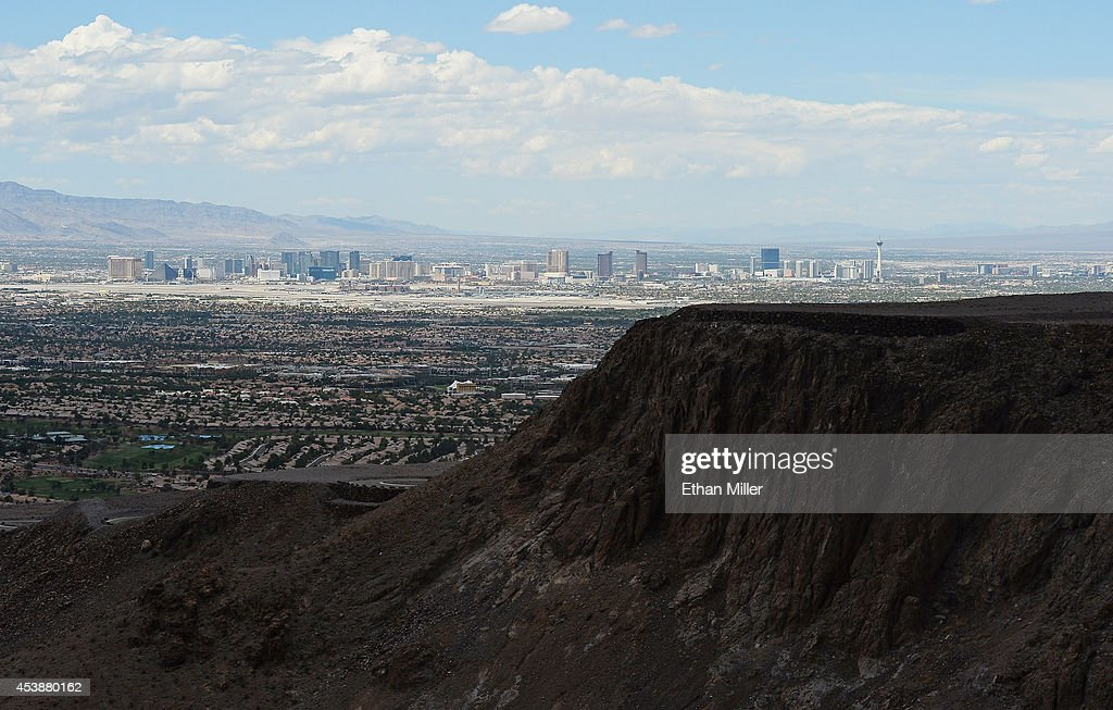 The Las Vegas Strip is shown behind some of the 313 luxury estate home sites nestled atop the McCullough Range at Ascaya, Nevada's premier luxury home development, on August 20, 2014 in Henderson, Nevada. Ascaya opened its sales center and began accepting reservations on Wednesday.