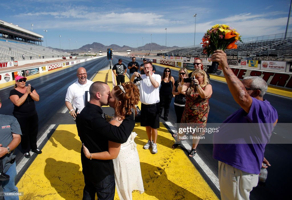 the las vegas wedding wagons the rev andy gonzalez 2nd l officiates a