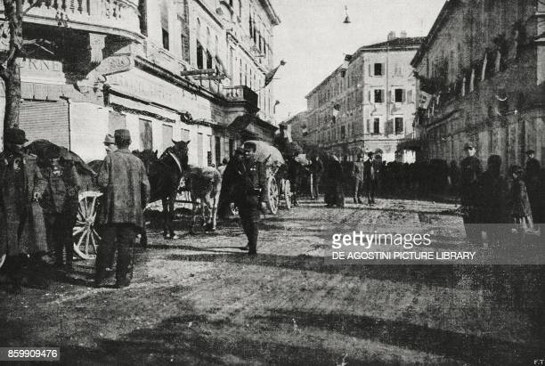 The last Austrian soldiers in Gorizia already occupied by Italian troops Italy World War I from l'Illustrazione Italiana Year XLV No 46 November 17...