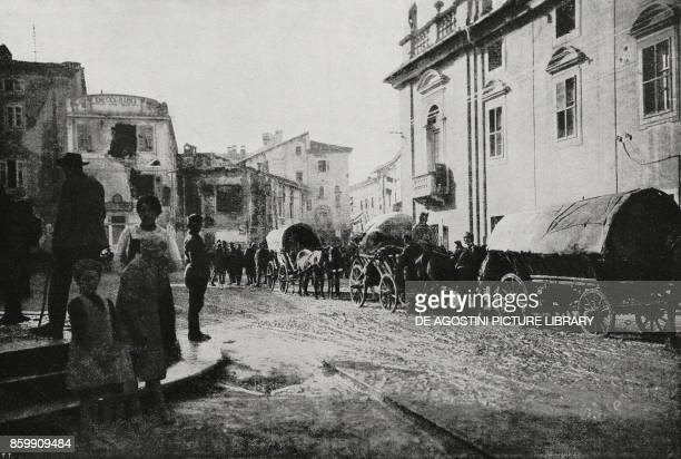 The last Austrian soldiers in Gorizia being already occupied by Italian troops Italy World War I from l'Illustrazione Italiana Year XLV No 46...