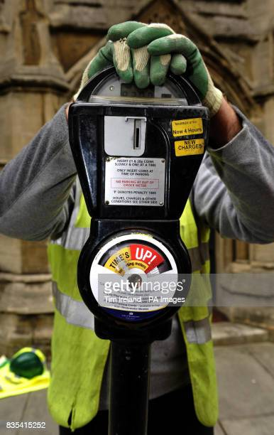 The last coin operated parking meter in central London after it was removed from Warwick Square in central London