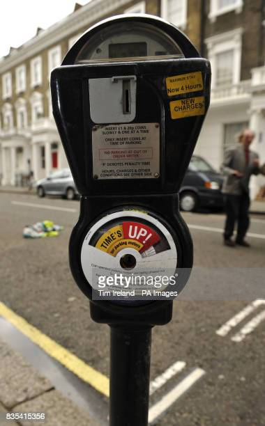 The last coin operated parking meter in central London before it is removed from Warwick Square in central London