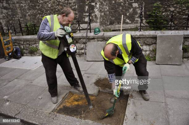 The last coin operated parking meter in central London is removed from Warwick Square in central London