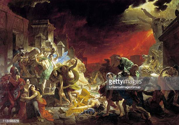 The Last Day of Pompeii' 18301833 Oil on canvas Karl Briullov Russian painter Depiction of panic of the citizens of Pompeii Italy at the eruption of...