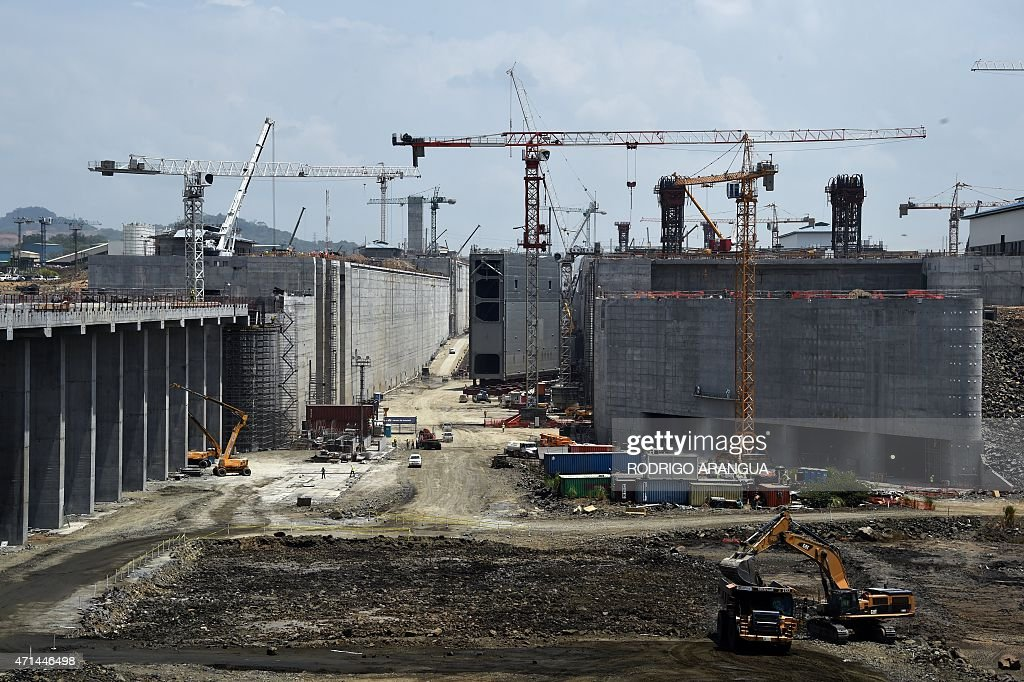 The last gate of the Pacific Locks is being installed as part of the Panama Canal expansion as the media is offered a tour in Cocoli near Panama City...