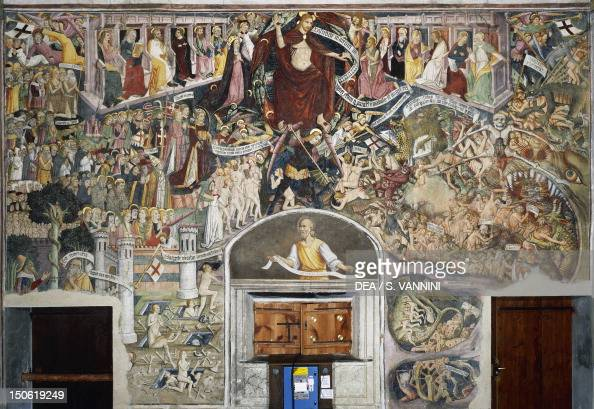 The Last Judgement fresco by Giovanni Canavesio in the NotreDame des Fontaines Chapel La Brigue France 15th century