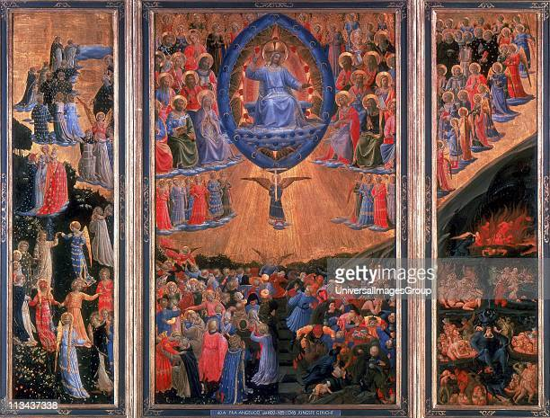 The Last Judgement' Heaven left Hell right Christ sits in judgement in central panel Fra Angelico Florentine painter Triptych Tempera on board...