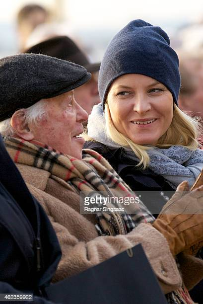 The last living survivor of the Norwegian Jews who were deported to Auschwitz Samuel Steinmann and Crown Princess MetteMarit of Norway attend...