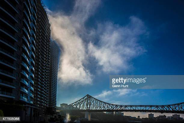 The last remnants of morning fog over Brisbane's Story Bridge on June 18 2015 in Brisbane Australia A thick coverage of fog lay over Brisbane this...