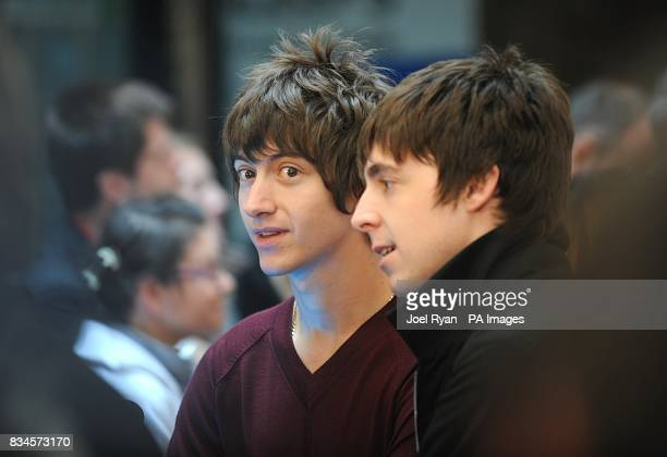 The Last Shadow Puppets' Alex Turner amd Miles Kane arrive for the Mojo Honours List award ceremony at The Brewery east London