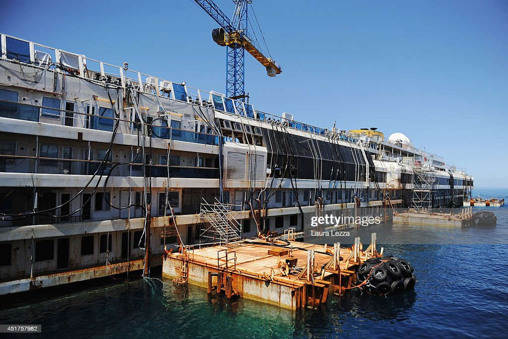 The last sponson is installed on the port side of the wrecked ship Costa Concordia on July 3, 2014 in Isola del Giglio, Italy. A total of 30 sponsons have been attached to the Costa Concordia to re-floate the ship wreck around July 10th. The wreckage will be removed by the end of July 2014 and will be toed to the port of Genoa for dismantling.